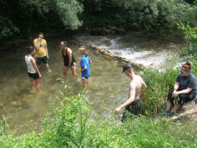 Cooling off in the river at our volunteer site. I'm in the blue t-shirt
