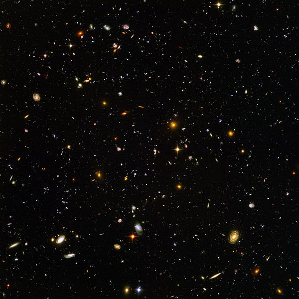 This image from the Hubble space telescope is estimated to contain 10,000 galaxies.
