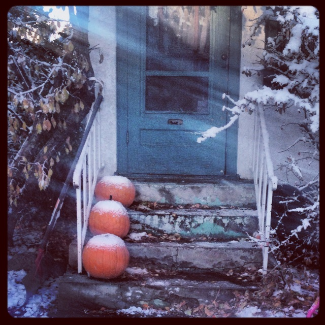 Pumpkins on a neighbor's porch got dusted with snow just before Halloween.