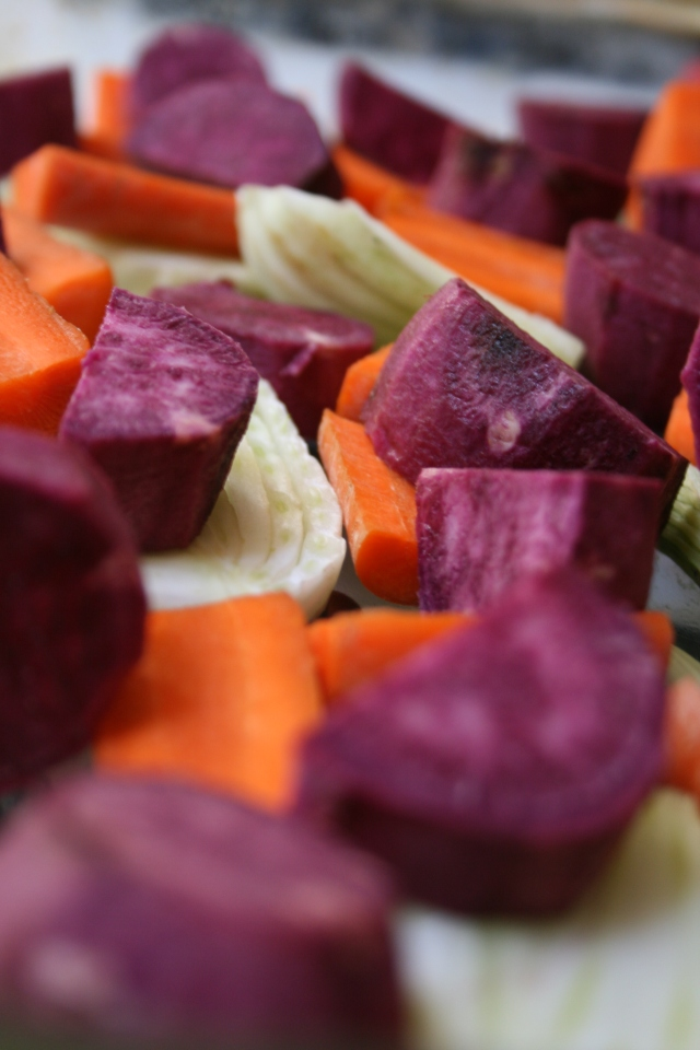 Preparing some root veggies for roasting