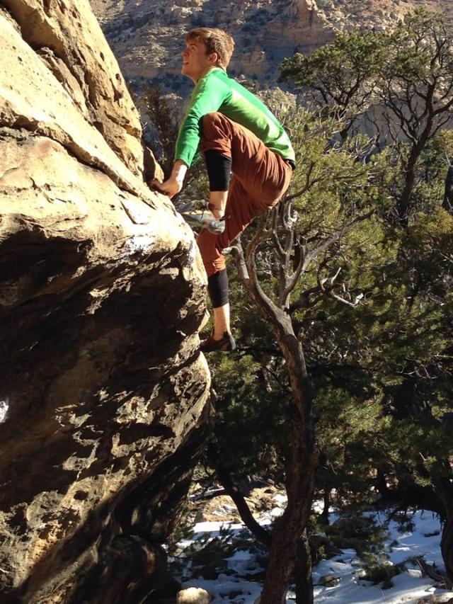 Matt on a boulder problem