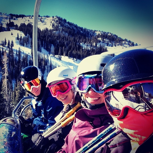 Sara took this picture of us on the lift! L to R: Matt, me, Tallie, Sara