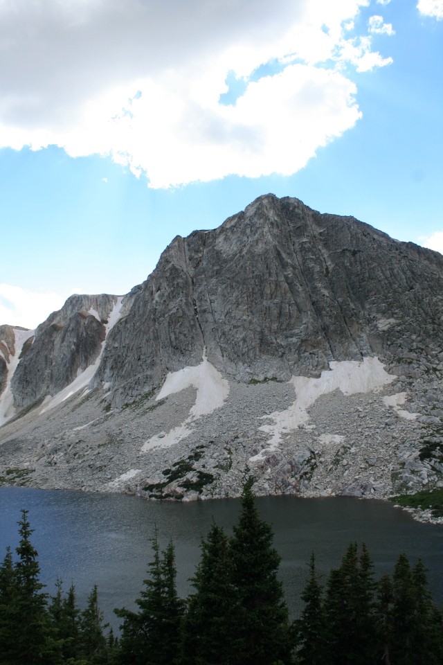 Two couloirs can be seen to the left of this photo, in the Snowy Range Mountains