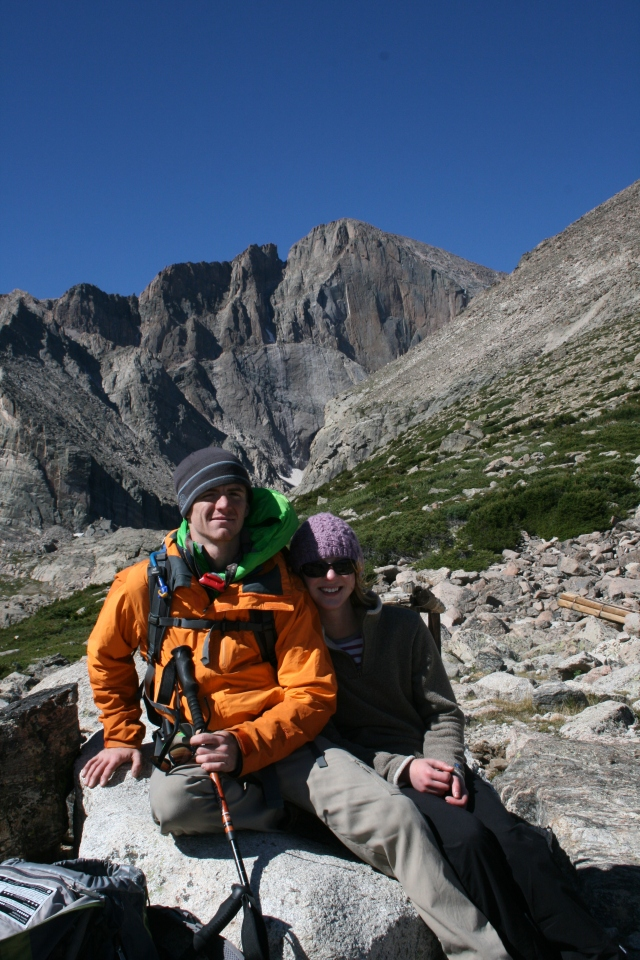 Matt and I above the tree line below Longs Peak, in the background