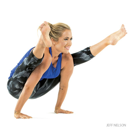 From YogaJournal.com, this is firefly pose, which is a type of arm balance