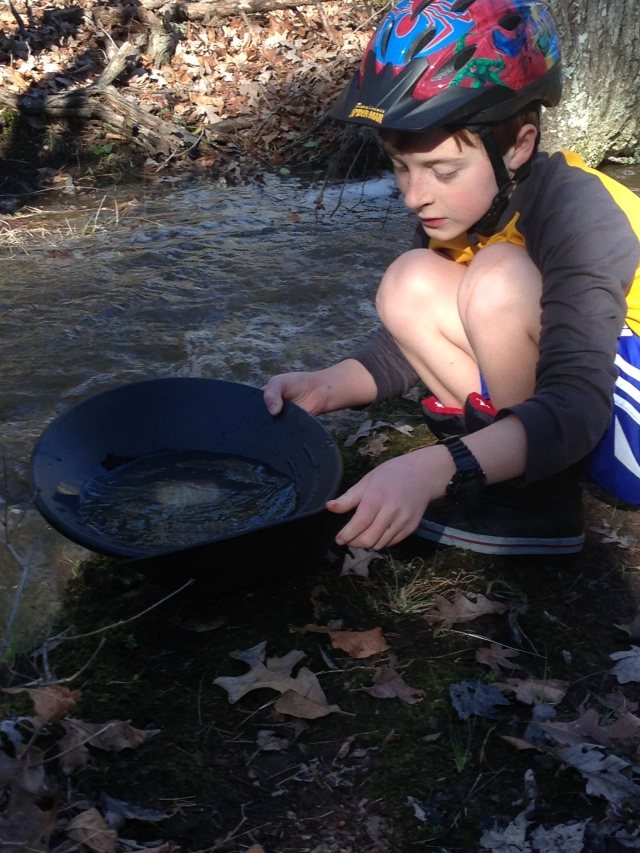 Sam panning for gold