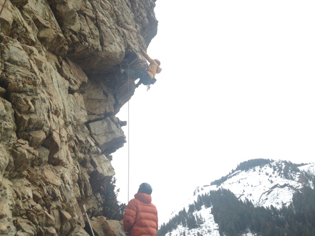Kyle belaying Kevin up a sport route at BCC. Do they look cold?