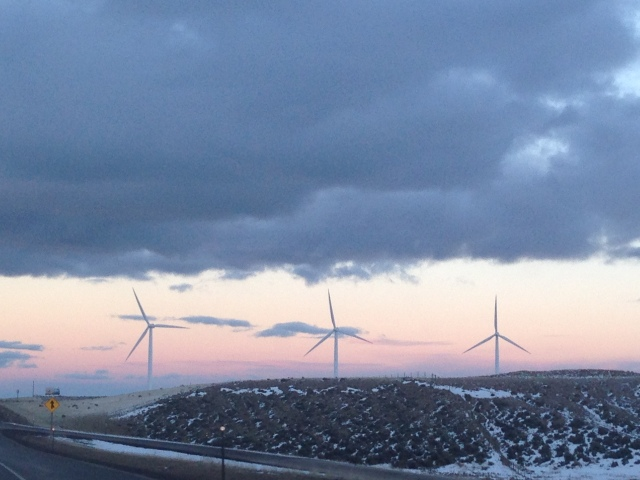 Windmills on the drive in southern Wyoming