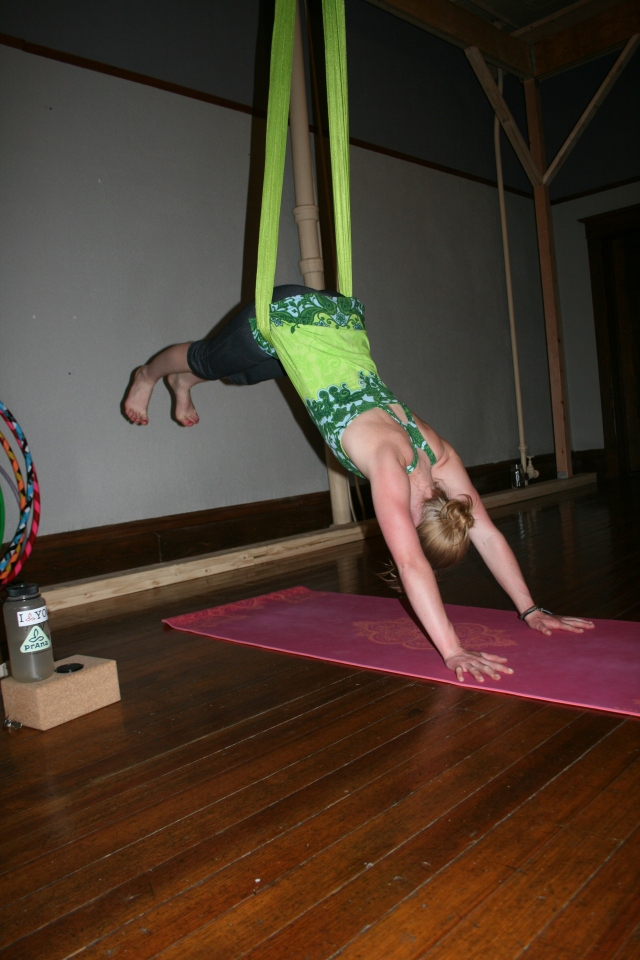 For aerial downward-facing dog, press down through the hands until the feet lift up. Press your chest toward the back edge of your mat