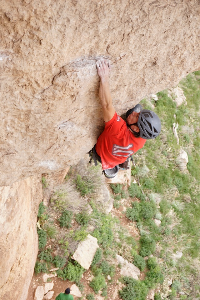 John on Head Cheese, a solid 5.12d, at The Gym. Photo by Kevin