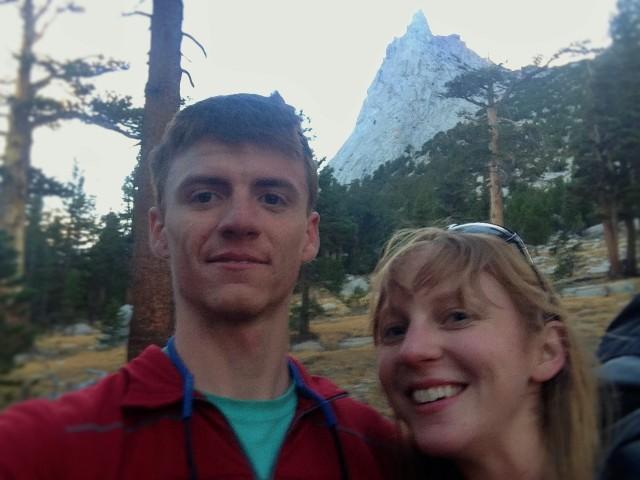 Matt & my helmet hair at the base of Cathedral Peak (behind us)