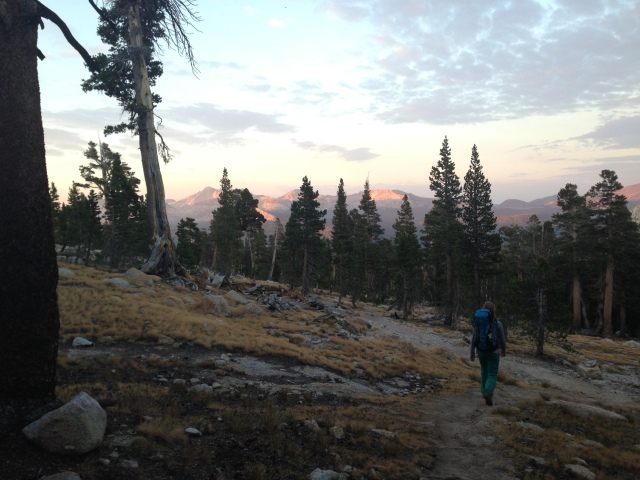 One of my favorite pictures of the trip- Matt took this of me hiking back down from Cathedral Peak, the setting sun coloring the granite peaks pink in the distance