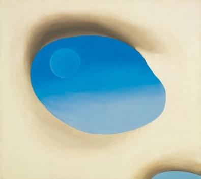 """From Georgia O'Keeffe's """"Pelvis"""" series, with the moon in the background"""
